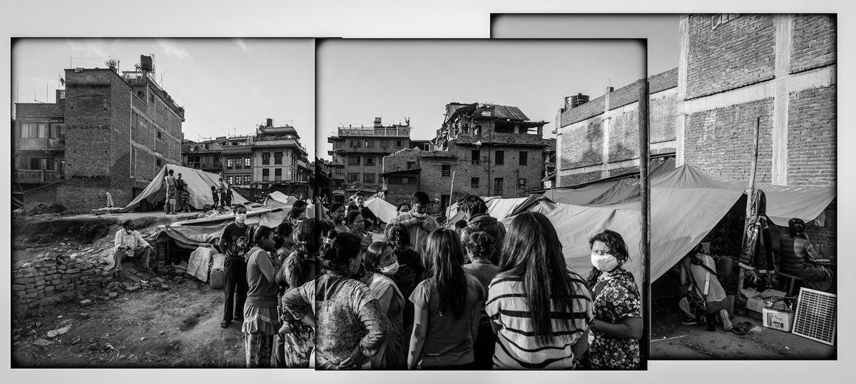 Nepal earthquake victims discussing hygiene  issues in Bhaktapur.