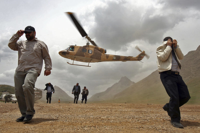 Iranian President, Mahmoud Ahmadinejad traveling by helicopter to visit several cities in Fars province.