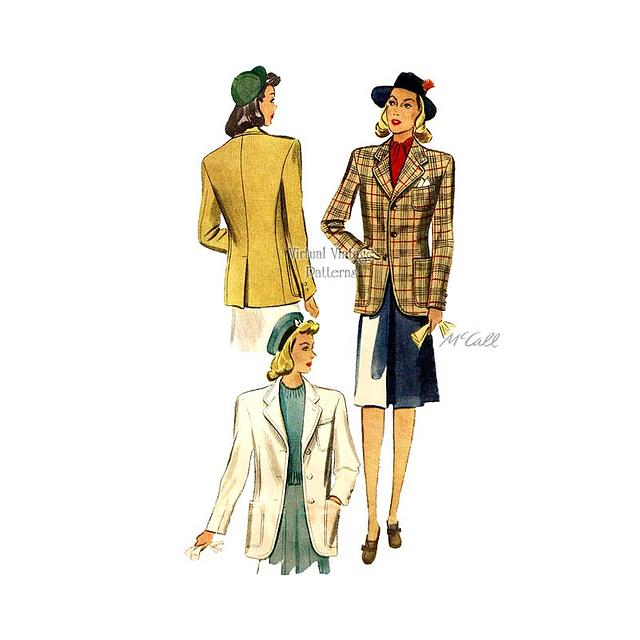 1940s Vintage Dress Pattern  McCall 7450  34 Bust  Misses and Ladies Dress