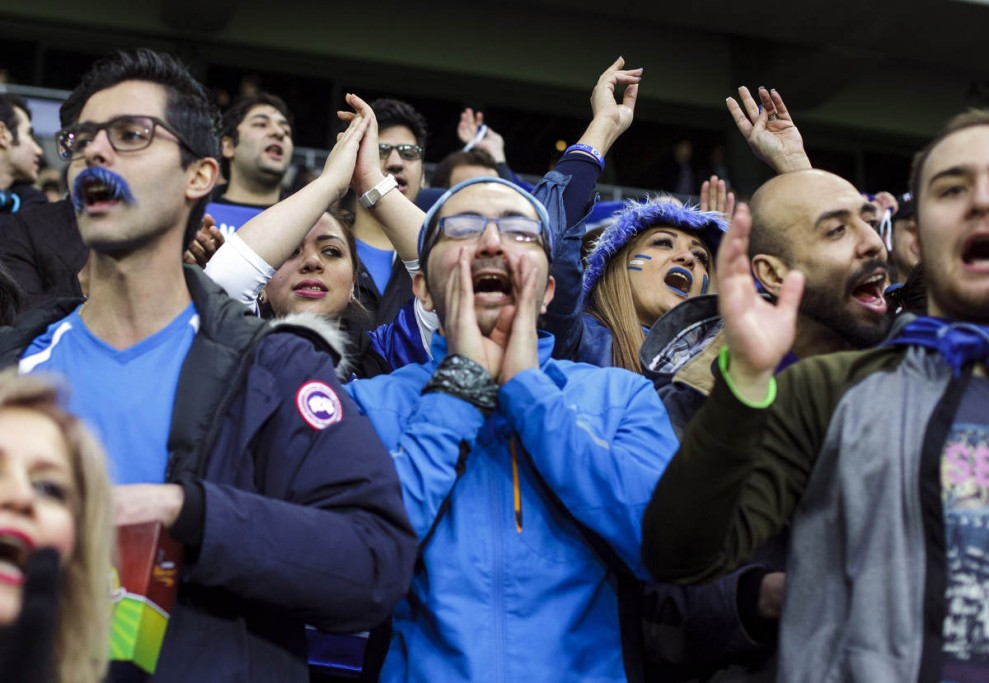 Fans of Esteghlal Iran looks on during the Friendly March between Esteghlal and Hammarby on March 25, 2016 in Stockholm, Sweden.
