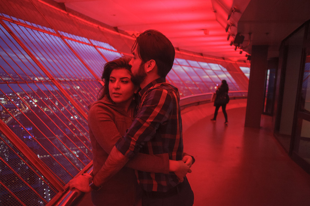 Niloofar Shirazi and Erfan Ebrahimi, a young Iranian couple at CN Tower, Toronto. The couple has been been together for about two years and they met each other at a concert.