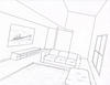 1-Point Perspective Drawing of a Interior