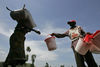 A displaced woman receive non food items like a bucket and plastic sheets at a Red Cross aid distribution point in a camp for displaced people, Monday, Nov. 17, 2008 in Kibati just north of Goma in eastern Congo.