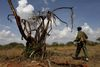 A Kenya Wildlife Ranger patrol looking for poachers in the Tsavo East national park, Tuesday, March 9, 2010 in Kenya.
