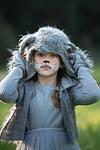 beautiful girl in grey wolf costume