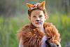 girl in fox Purim costume in ben shemen forest