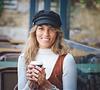 fashion model in Ein Kerem  drinking coffee at restraunt