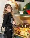 fashion model at Ein Kerem buying ice cream