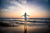 Bat Mitzva girl sunset Palmachim beach