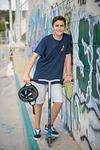Bar Mitzvah boy on scooter Modiin skatepark