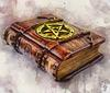 Vintage,Wooden,-,Leather,Grimoire,Book,With,Gilded,Pentagram,Lay