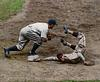 Browns' Lyn Lary is safe vs. Lou Gehrig & the Yankees (1936)