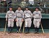 Lou Gehrig, Babe Ruth, Earle Combs, and Tony Lazzeri - Yankees Murderers' Row (1927). Original B&W Photo © 1927 Leslie Jones