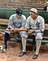 Babe Ruth & Shoeless Joe Jackson talking hitting at Comiskey Park (1920)
