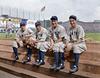 Red Rolfe, Tony Lazzeri, Lou Gehrig & Frankie Crosetti at Fenway Park (1937)