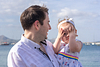 Peek-a-boo. Family photoshoot at Puerto Pollensa. Mallorca. Balearic Islands.
