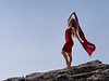 A red dress, sun and North Mallorca wind. Nothing else Matters. Portrait session at the beach in Son Serra de Marina. Balearic Islands