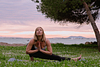 Namaste. Yoga portrait session at Alcanada beach park. Alcudia. Mallorca. Balearic Islands