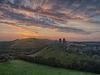 Orange dawn at Corfe Castle