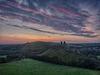 Purple dawn at Corfe Castle
