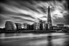 The shard and south bank black and white