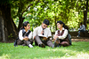 group of students studying in park