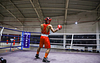 Man standing alone in punching pose