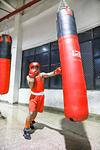Man punching on punching bag