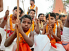 tribal boys during manda puja
