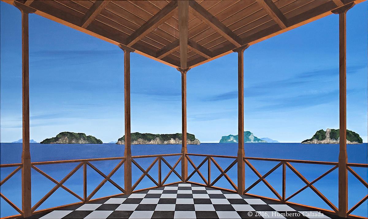 "Barrera de Islotes (Barrier of Islets) Acrylic on Canvas, 36"" x 60""  2016"