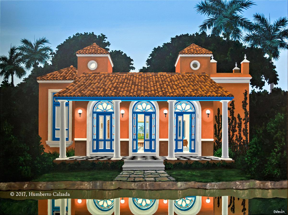"Casa del Rio Almendares (House on the Almendares River) Acrylic on Canvas, 36"" x 48""  2017"