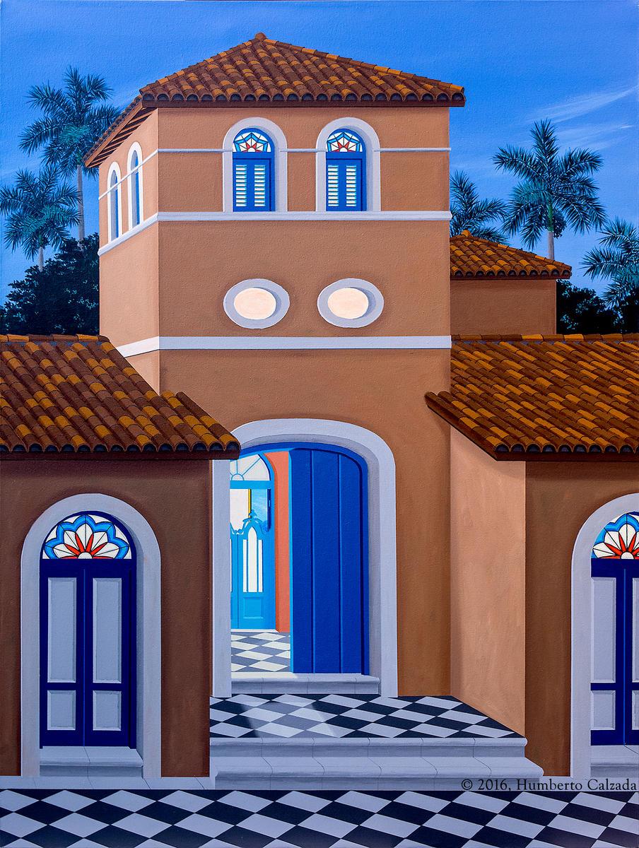 """El Enigma de la Torre (The Enigma of the Tower), Acrylic on Canvas,  40"""" x 36"""", 2016"""
