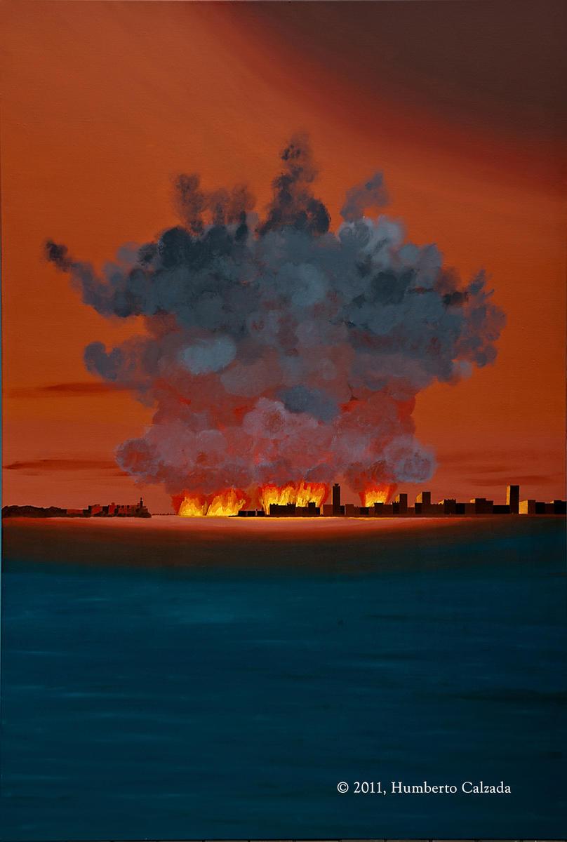 """Havana Harbor Revisited, Acrylic on Canvas, 72"""" x 48"""", 2011"""