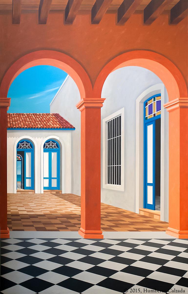 """Honrando los Ancestros (Honoring the Ancestors) Acrylic on Canvas, 75"""" x 48"""" 2015"""
