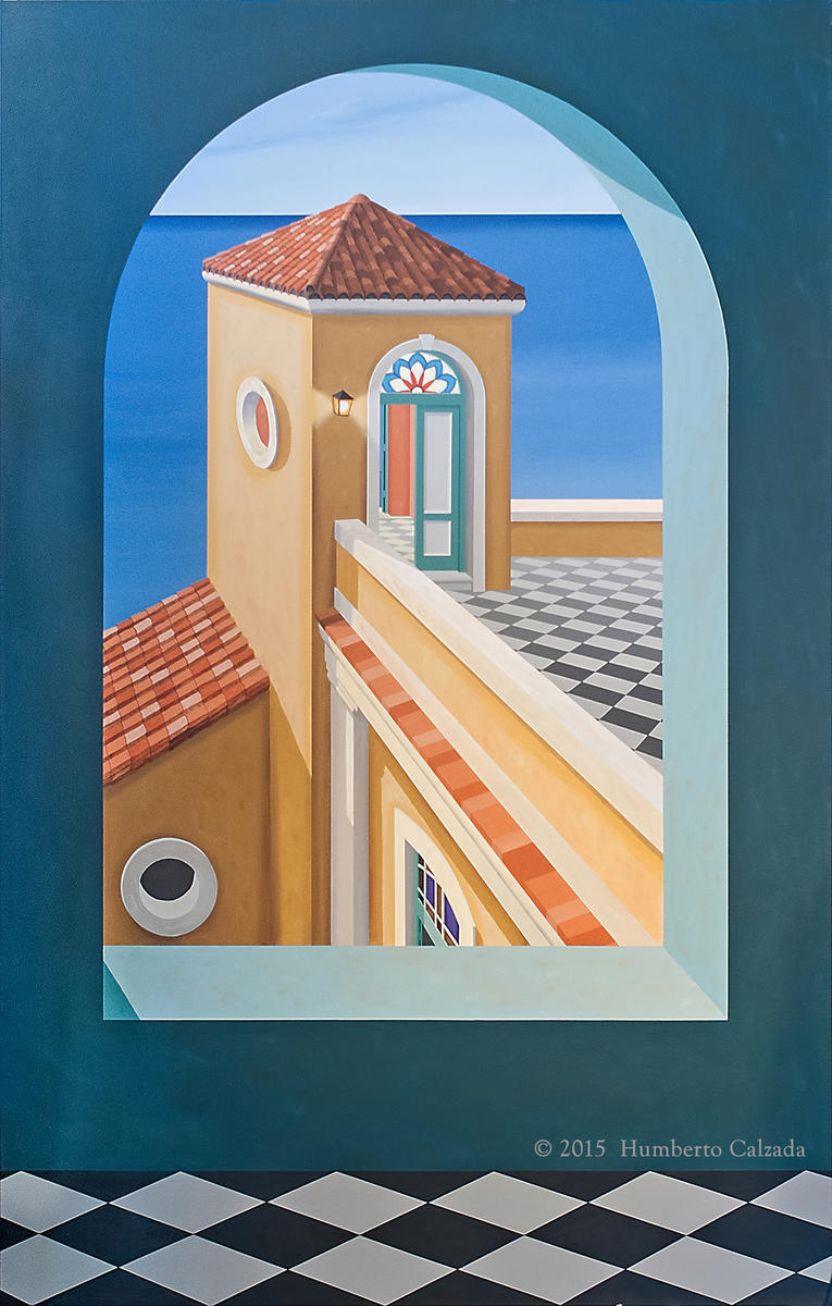 "La Anecdota del Vigilante (The Watcher's Anecdote), Acrylic on Canvas, 75"" x 48"", 2015"