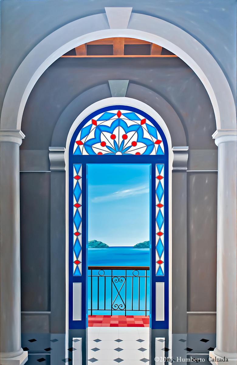 """La Entrada de la Bahia (The Entrance to the Bay), Acrylic on Canvas, 75"""" x 48""""  2015"""