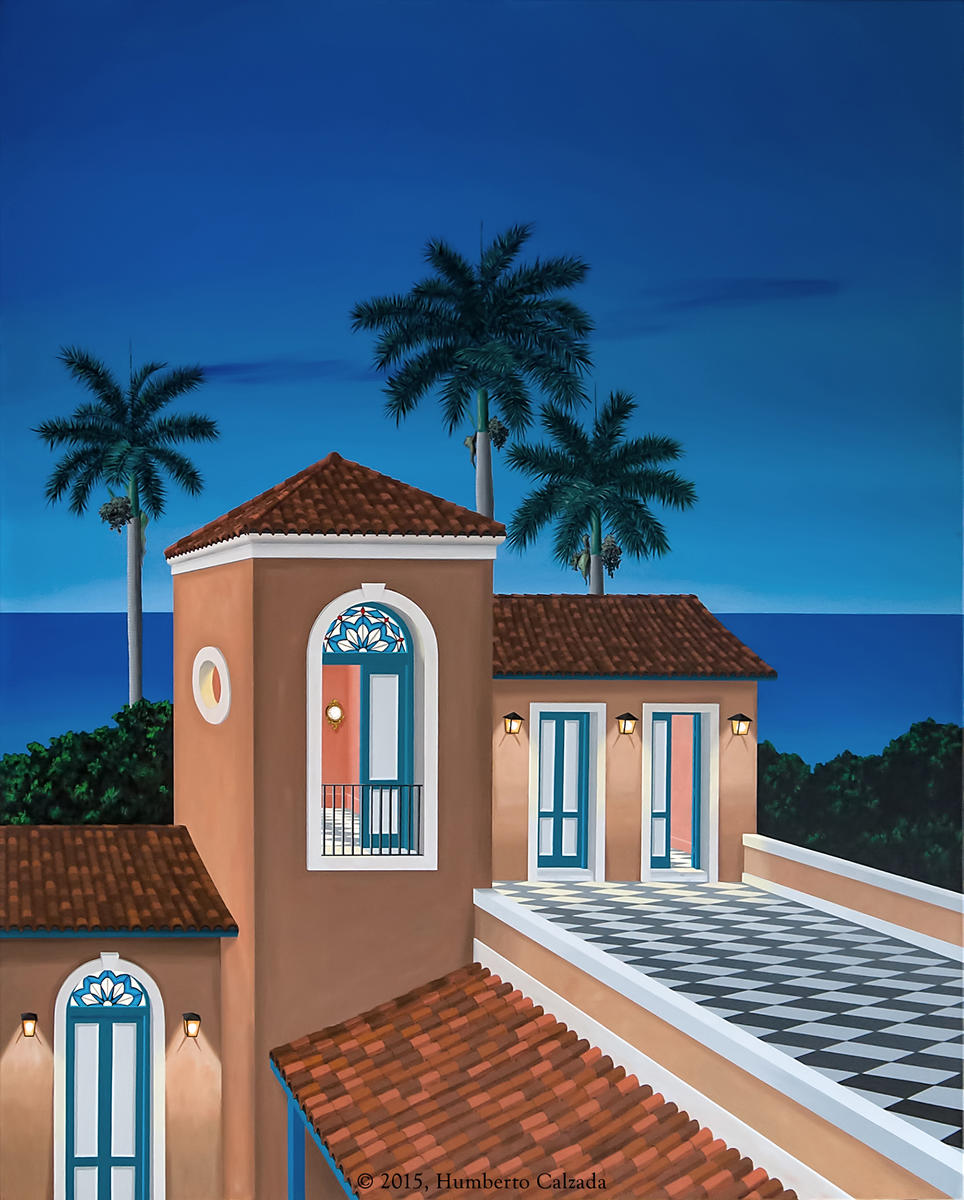 "La Filosofia del Atardecer (The Philosophy of Dusk) Acrylic on Canvas, 63"" x 51""  2015"