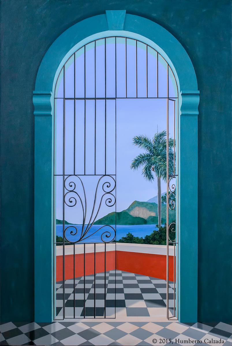 """La Reja y El Silencio (The Gate and Silence) Acrylic on Canvas, 60"""" x 40""""  2015"""