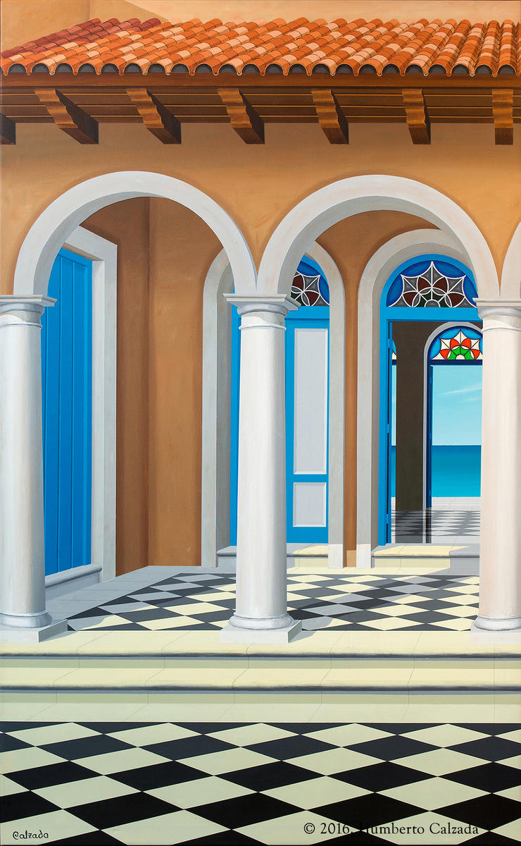 "Paraiso de Ajedrecista (Paradise of the Chess Player) Acrylic on Canvas, 52.5"" x 32.5""  2016"