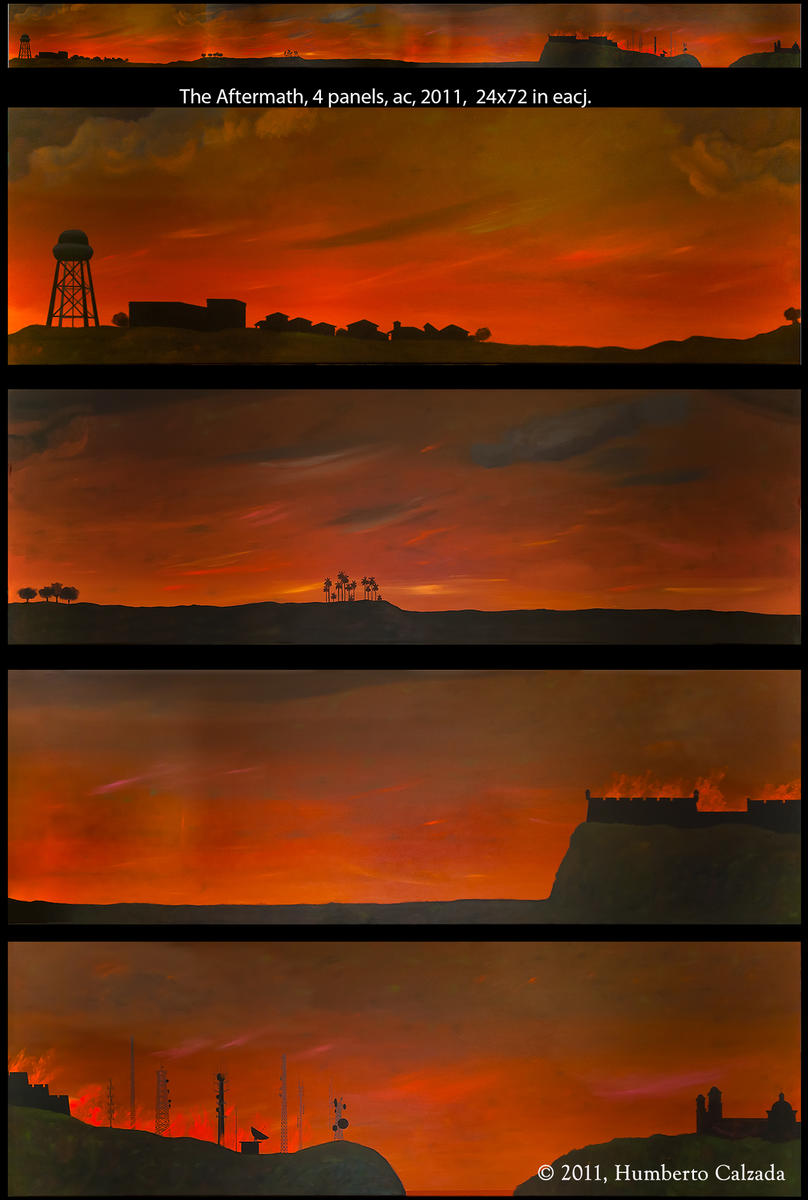 "The Aftermath, 4 Acrylic on Canvas Panels, 24"" x 72"" each, 2011"