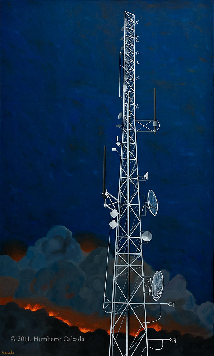 "The Fire Next Time, Tower 2, Acrylic on Canvas, 80"" x 48""   2011"