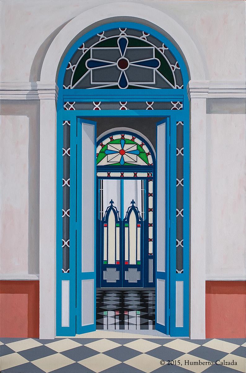 """Una Historia Detras (A Hidden Story) Acrylic on Canvas, 50"""" x 33.75""""  2015"""