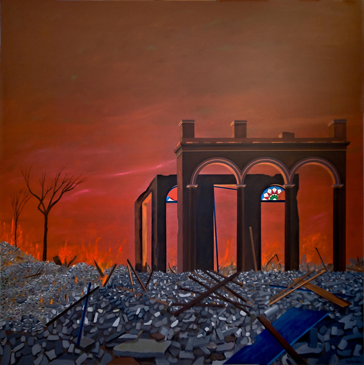 """What Remains, Acrylic on Canvas, 60"""" x 60""""  2011"""
