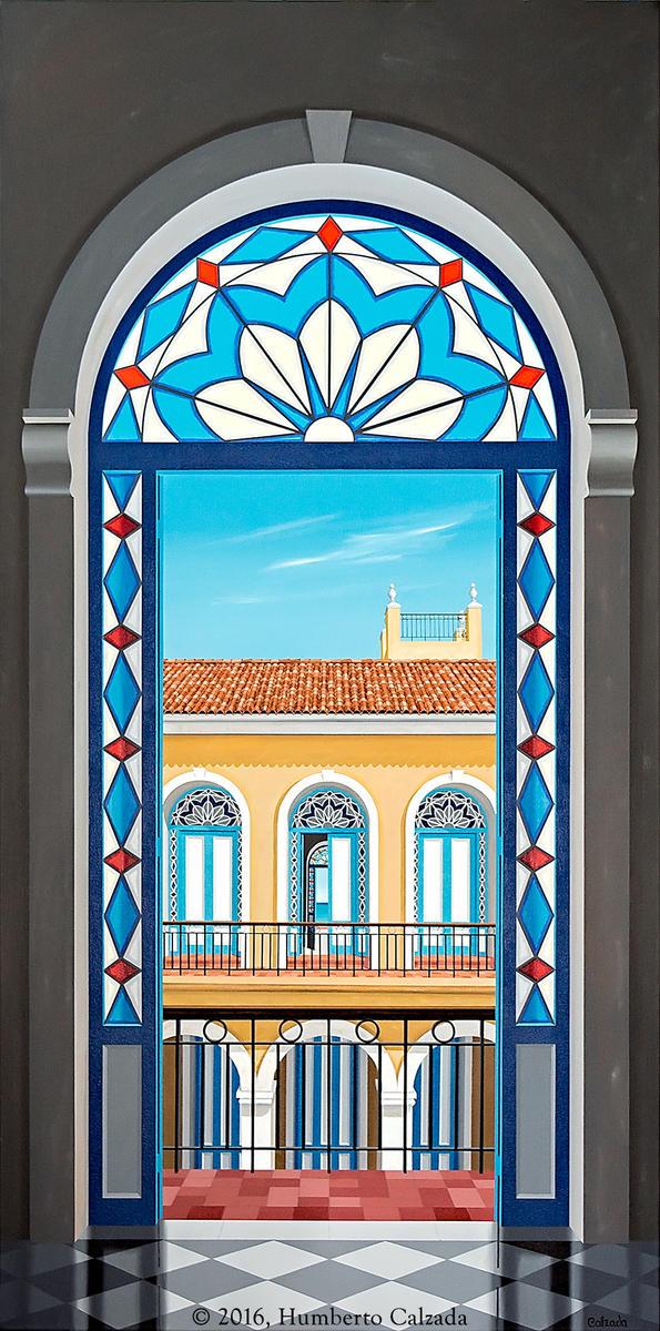 "Palacio Habanero de Noble Criollo (Palace in Havana of a Noble Creole) Acrylic on Canvas, 72"" x 36"", 2016"