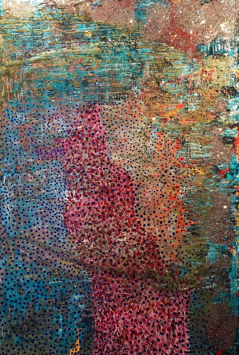 Tenleytown Zebra Map - 4' x 6' - acrylic, ink and mixed media on canvas