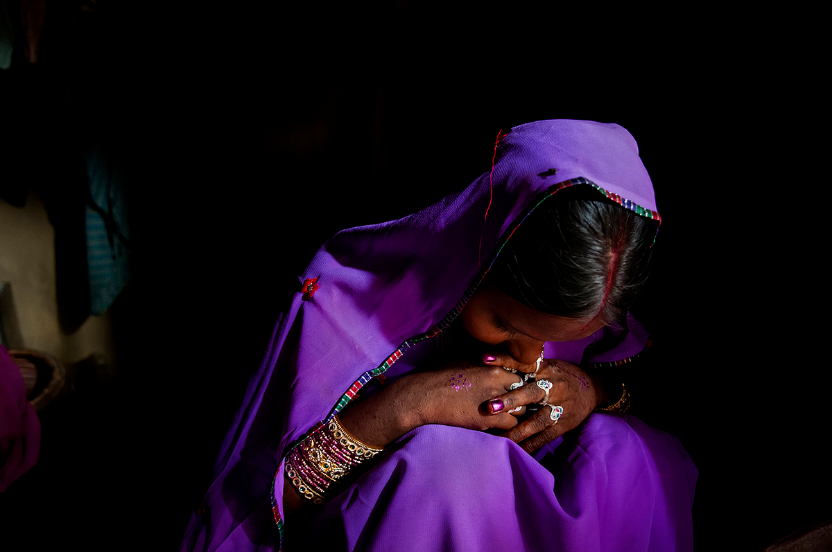 Anjani sits in a corner of her husband's house during the 'Gauna' ceremony. In this part of the country, a bride does not start living with her husband right after marriage, but typically happens after a ceremony called 'Gauna.'