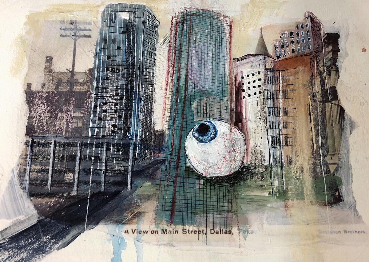 """Main Street sketch, 2019, 9"""" x 12"""", mixed media"""