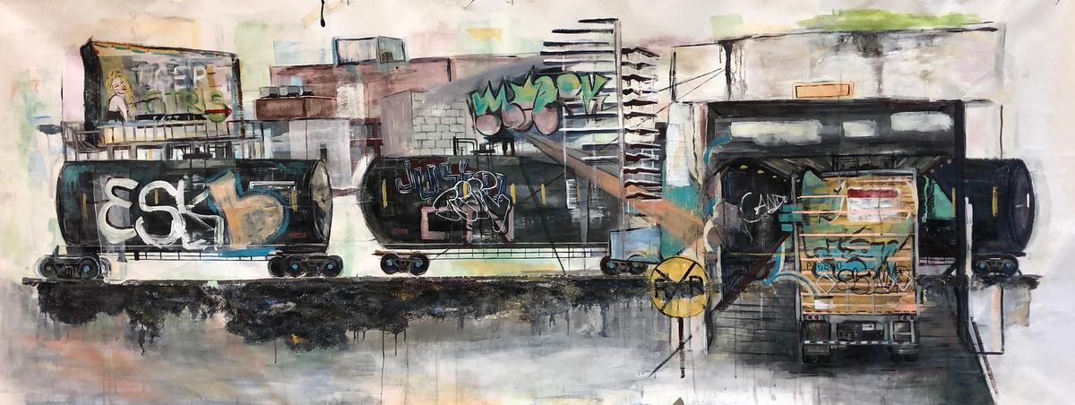 "By and Through (Tiger Girls), 2019, 41"" x 115"", mixed media"