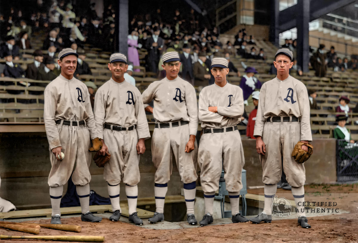 """""""The $100,000 Infield"""" - Stuffy McInnis, Danny Murphy, Frank 'Home Run' Baker, Jack Barry, and Eddie Collins (1913)"""