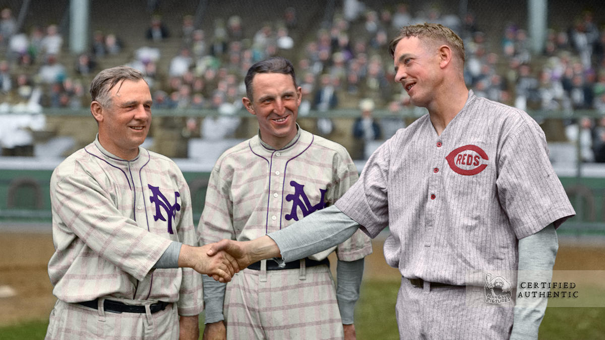 John McGraw, Buck Herzog, and Christy Mathewson - New York Giants/Cincinnati Reds (1916)